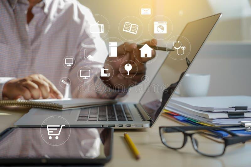 Пользы технологии электронной коммерции бизнесмены маркетинга интернета глобального покупая план и концепцию банка стоковые изображения rf