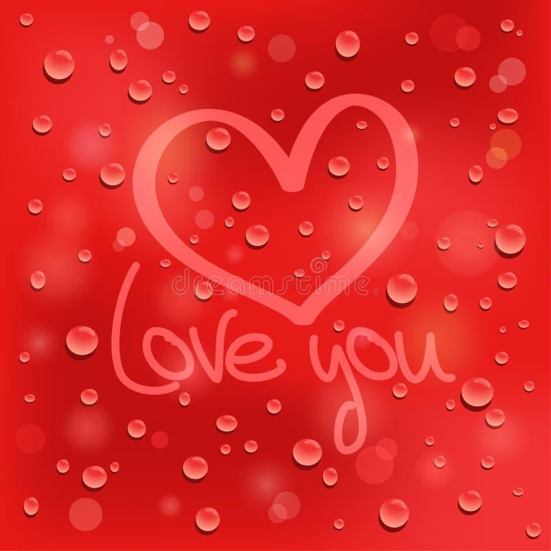 Полюбите вас. Вычерченное сердце на влажном стекле. Красная предпосылка иллюстрация штока