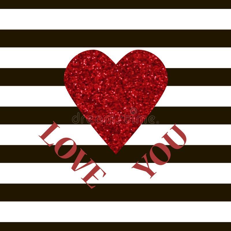 ПОЛЮБИТЕ ВАС карточка вектора валентинки красный цвет сердца яркия блеска бесплатная иллюстрация