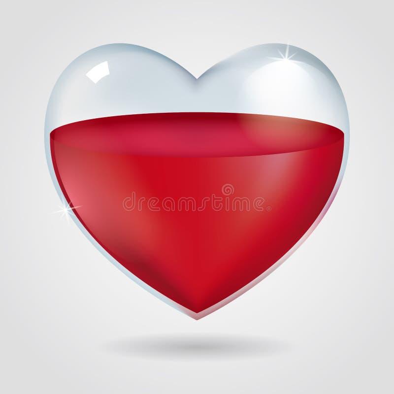 Полюбите дизайн концепции, прозрачный контейнер при в форме сердц значки, заполненные с красной жидкостью иллюстрация вектора