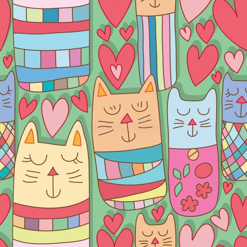 Полюбите картину земли зеленого цвета влюбленности кота Kokeshi безшовную иллюстрация вектора