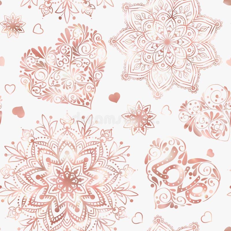 Полюбите картину сердца безшовную в розовых цветах золота иллюстрация штока
