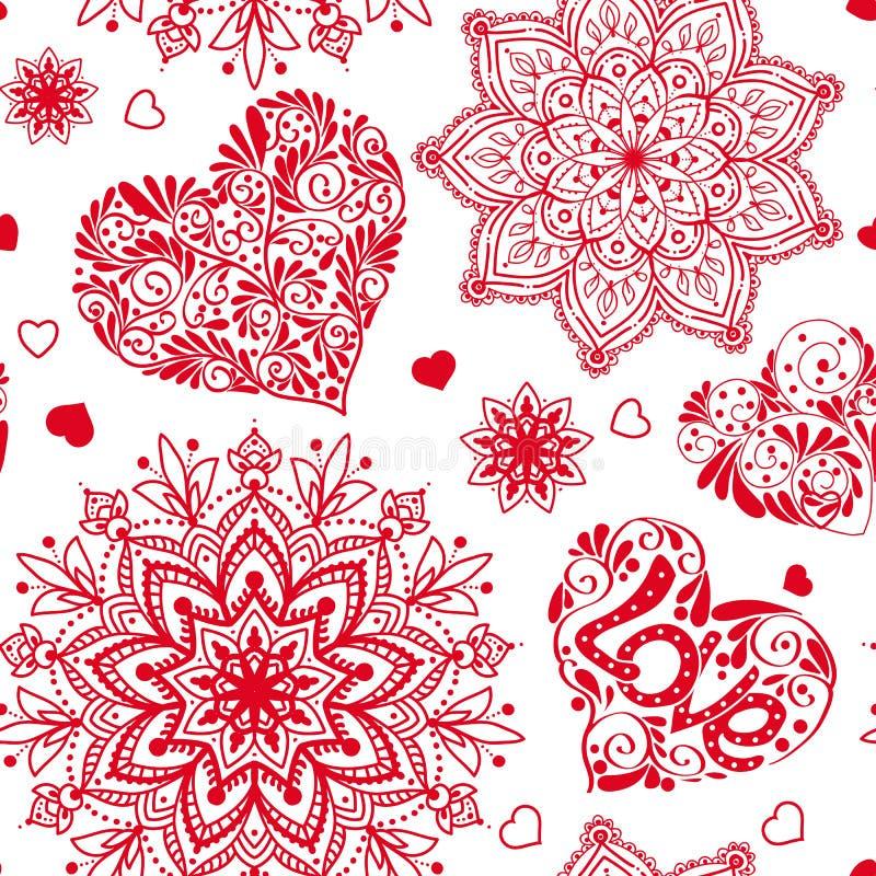 Полюбите картину сердца и мандал безшовную в белых и красных цветах иллюстрация штока