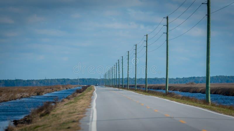 Поляки телефона следовать шоссе в Северной Каролине стоковые фотографии rf