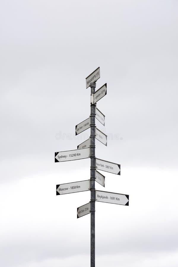 Поляк при знаки показывая расстояния столиц мира стоковое фото