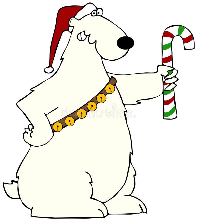 Полярный медведь держа тросточку конфеты бесплатная иллюстрация