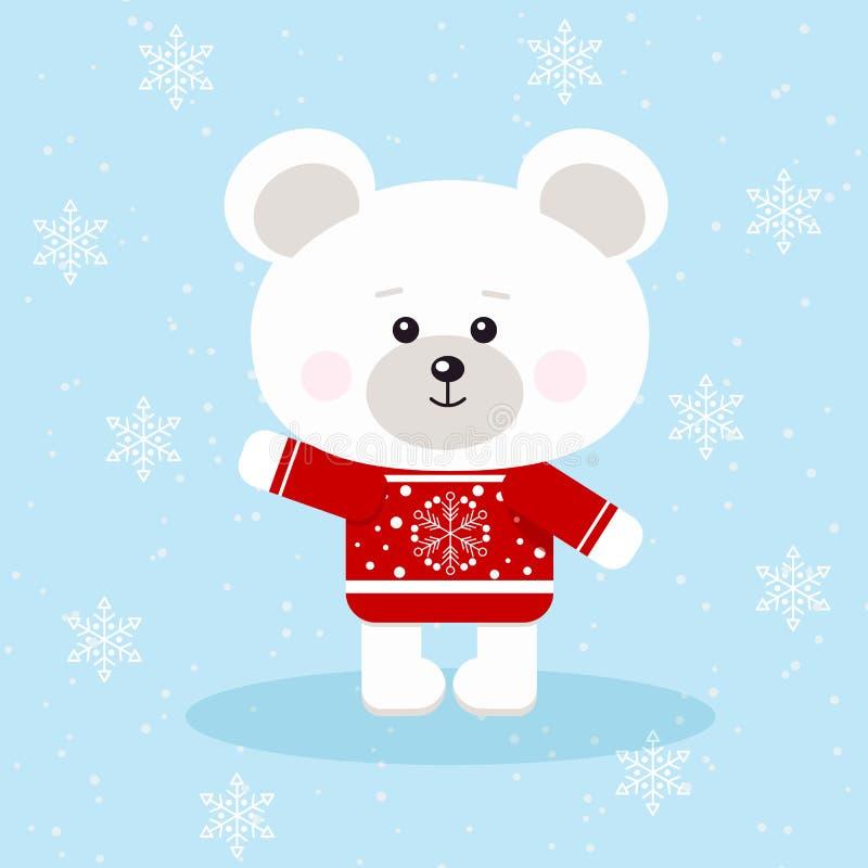 Полярный медведь милого рождества в красном свитере со снежинкой в предпосылке снега в стиле мультфильма плоском иллюстрация штока