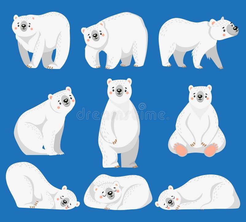 Полярный медведь мультфильма Белые медведи, ледовитое дикое животное и иллюстрация вектора снега изолированная медведем иллюстрация вектора