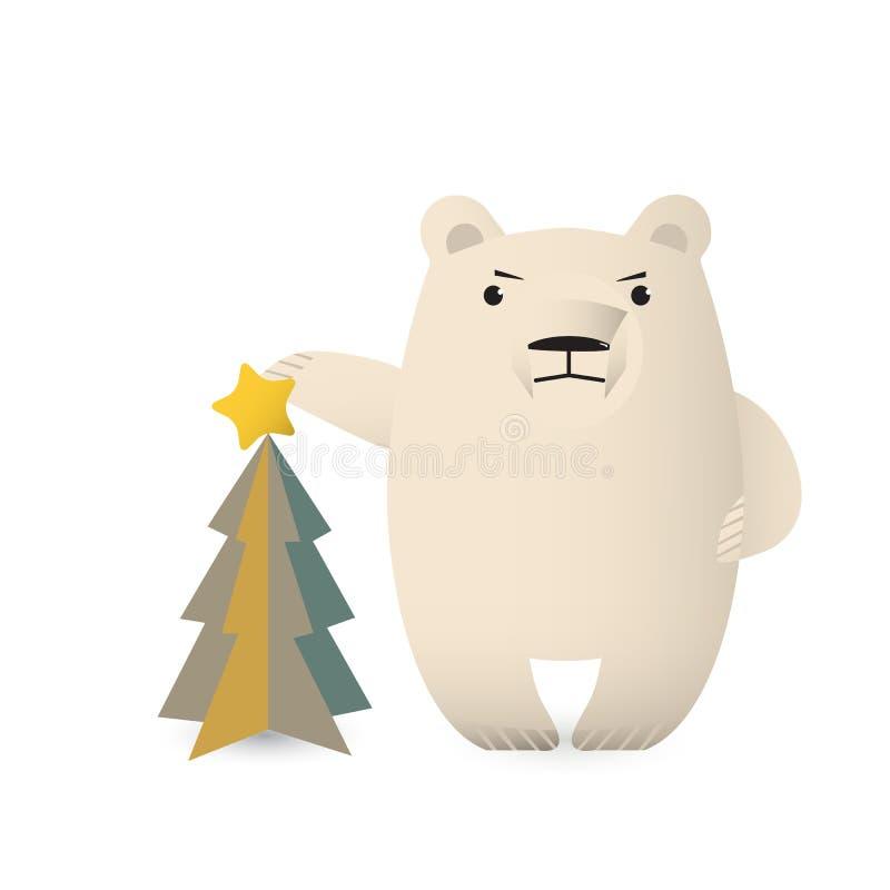 Полярный медведь украшает рождественскую елку иллюстрация вектора