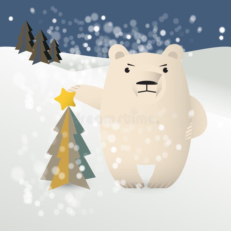 Полярный медведь украшает рождественскую елку бесплатная иллюстрация