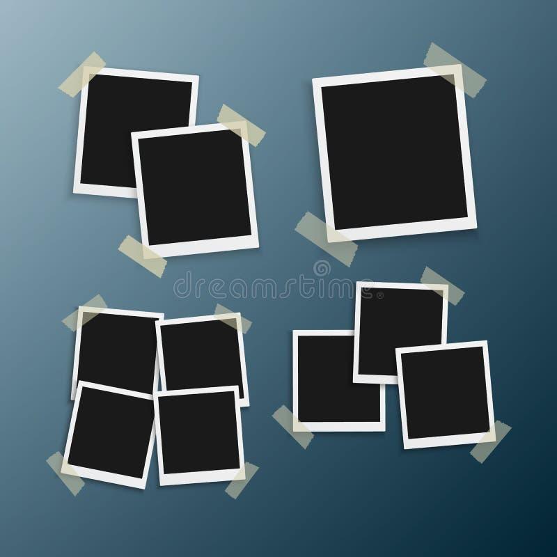 Поляроидное фото MockupVector Реалистический немедленный шаблон рамки фото иллюстрация вектора