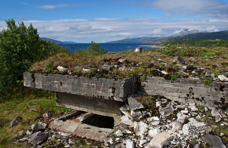 Поля брани в Норвегии, старые городища войны в fiord Норвегии, Evenes стоковые изображения