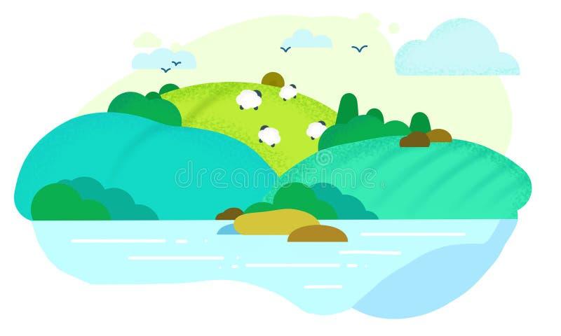 Поля с овцами стоковое изображение rf