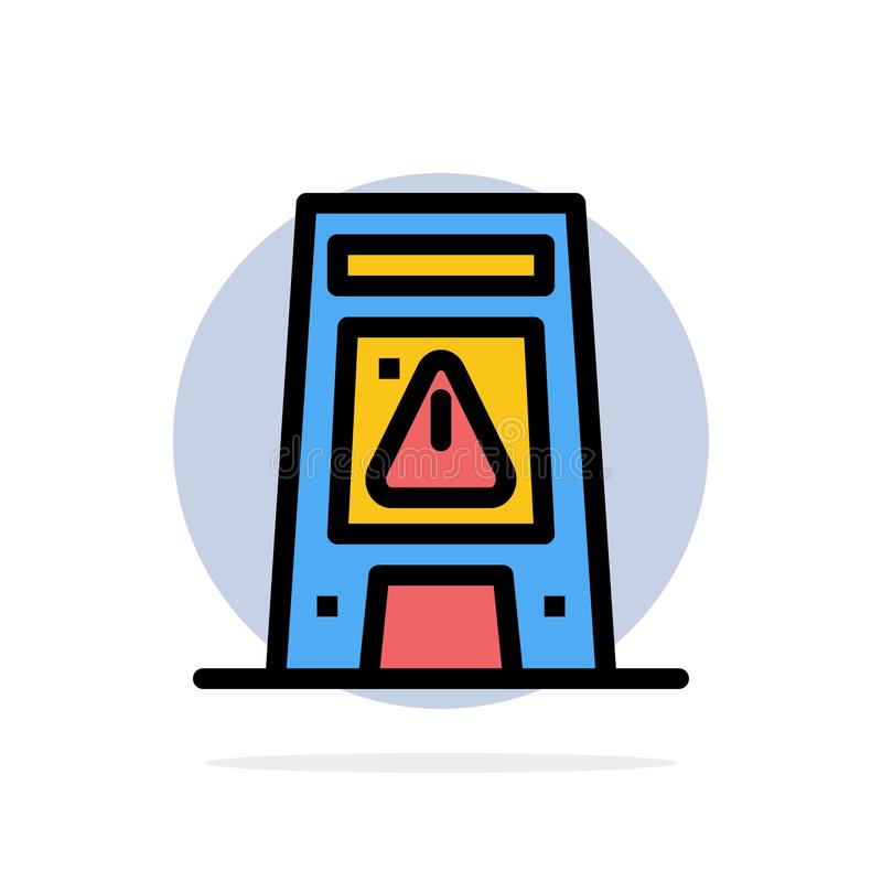 Пол, сигнал, сигнализирующ, значок цвета предупреждающей, влажной абстрактной предпосылки круга плоский бесплатная иллюстрация