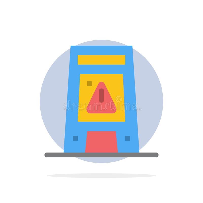 Пол, сигнал, сигнализирующ, значок цвета предупреждающей, влажной абстрактной предпосылки круга плоский иллюстрация штока