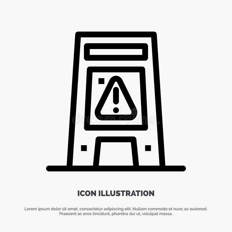 Пол, сигнал, сигнализируя, предупреждение, влажная линия вектор значка бесплатная иллюстрация