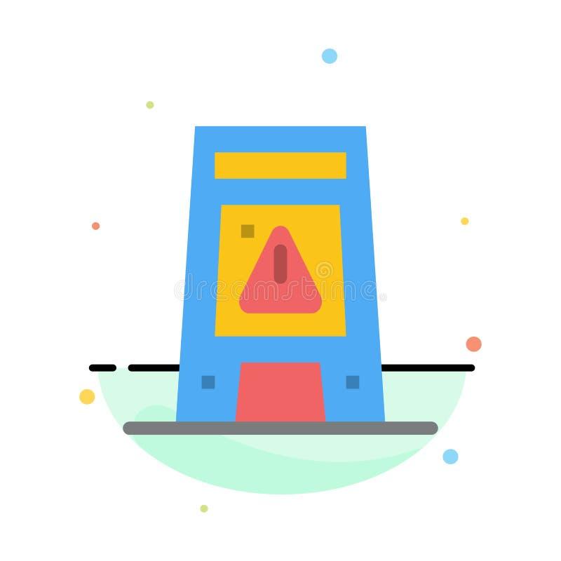 Пол, сигнал, сигнализируя, предупреждение, влажный абстрактный плоский шаблон значка цвета иллюстрация штока