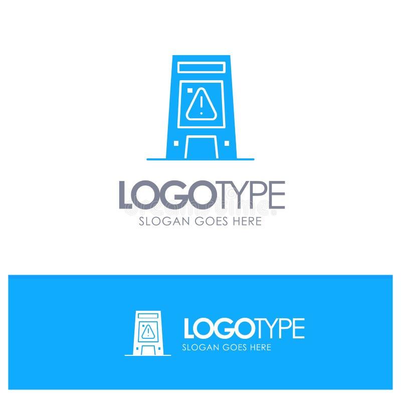 Пол, сигнал, сигнализируя, предупреждение, влажный голубой твердый логотип с местом для слогана иллюстрация штока