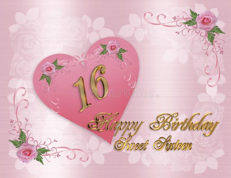 помадка поздравительой открытки ко дню рождения 16 бесплатная иллюстрация
