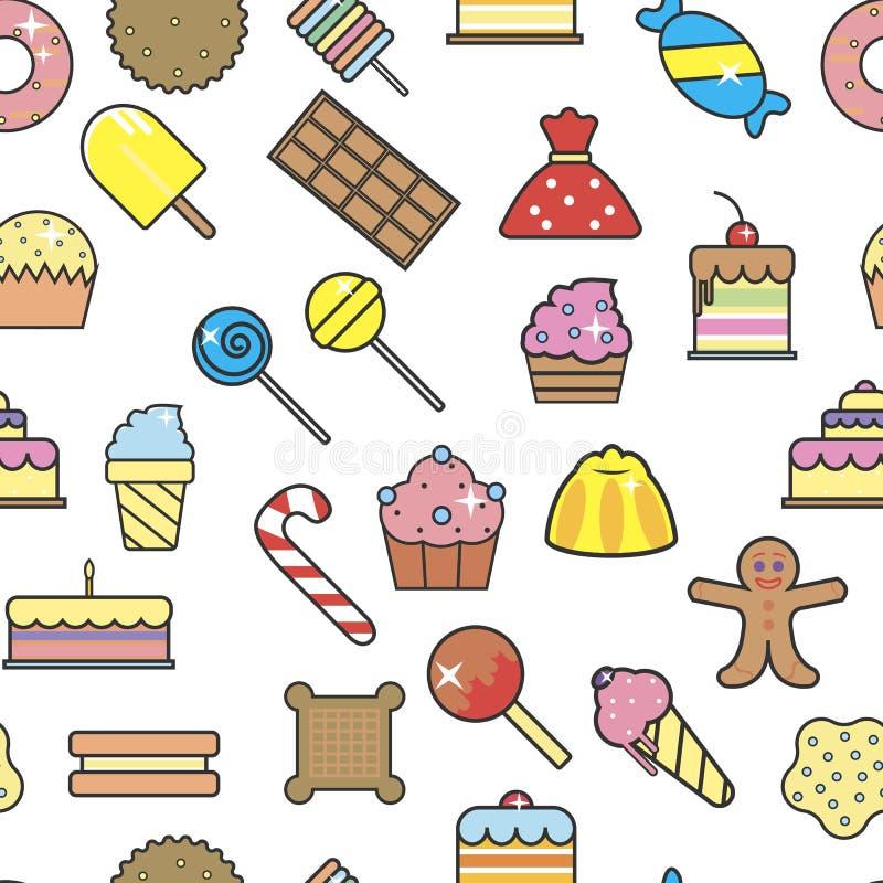 Помадки и шоколад пекарни картины десертов и сладких закусок безшовные бесплатная иллюстрация