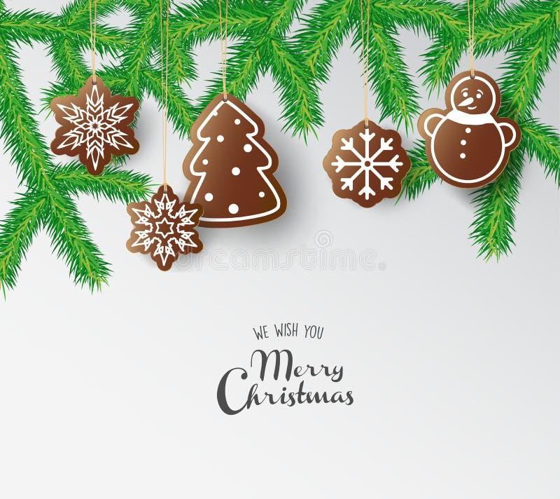 Помадки пряника смертной казни через повешение с с Рождеством Христовым желаниями иллюстрация вектора