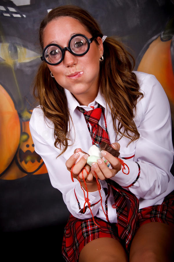 помадки студента halloween стоковое фото