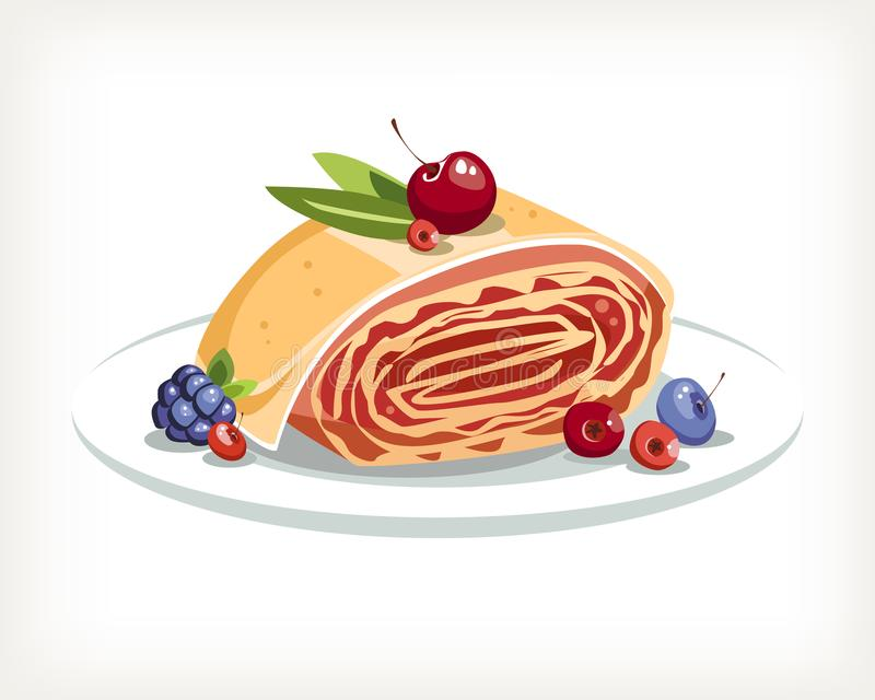 Помадки хлебопекарни штрудели с вишней и едой ягод традиционной австрийской иллюстрация штока