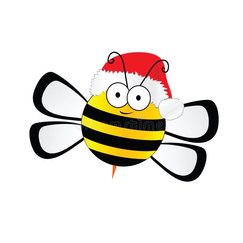 Помадка пчелы с вектором шляпы рождества в красочном иллюстрация вектора