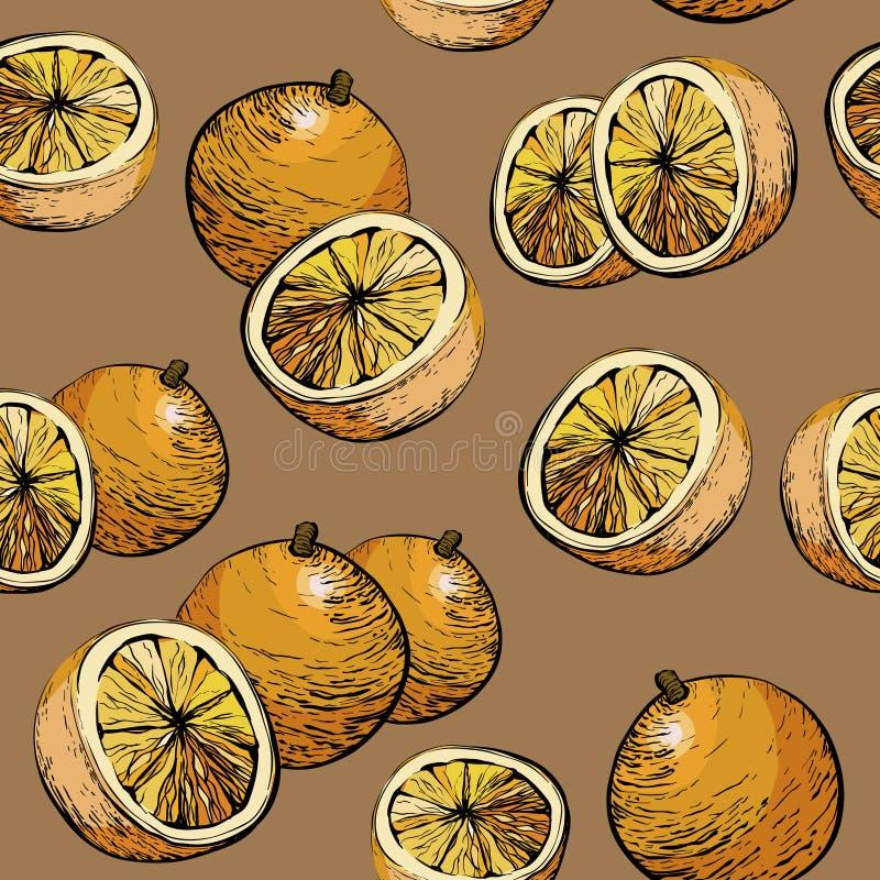 померанцовая картина Безшовная предпосылка Предпосылка цитрусовых фруктов сочная Картина цитруса безшовная с апельсинами бесплатная иллюстрация
