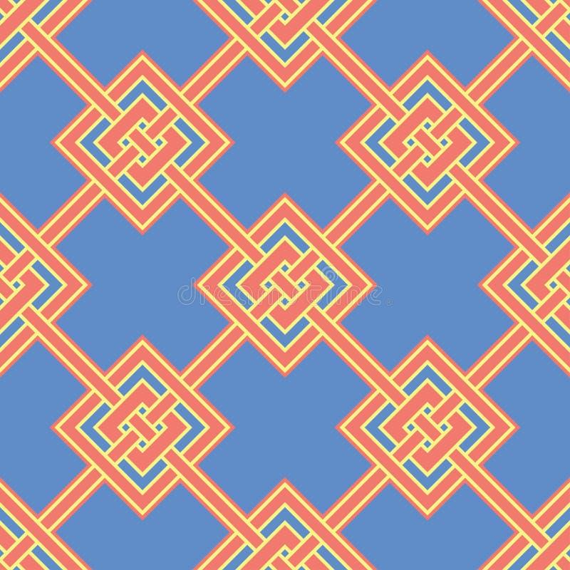 померанцовая картина безшовная Яркая геометрическая предпосылка с синью и желтый цвет конструируют иллюстрация штока