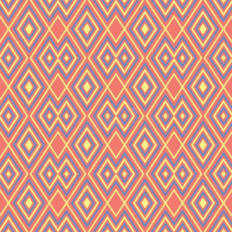 померанцовая картина безшовная Яркая геометрическая предпосылка с синью и желтый цвет конструируют иллюстрация вектора