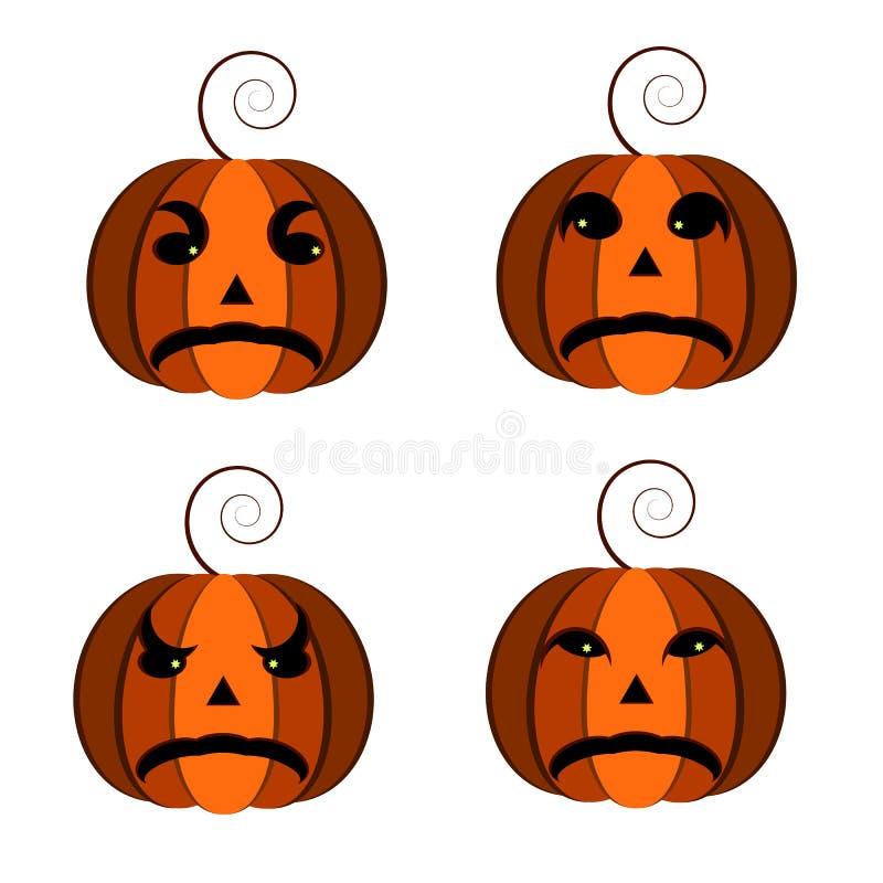 померанцовая тыква оранжевая тыква, для карточек на праздник хеллоуин, комплект от cheryrekh тыкв иллюстрация вектора