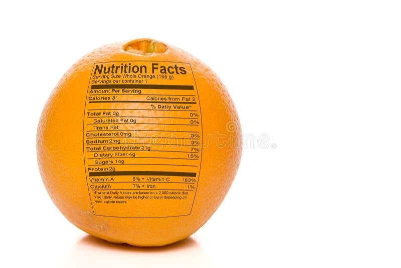 Померанцовые факты питания стоковая фотография rf