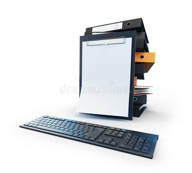 поместите скоросшиватели в архив компьютера иллюстрация штока
