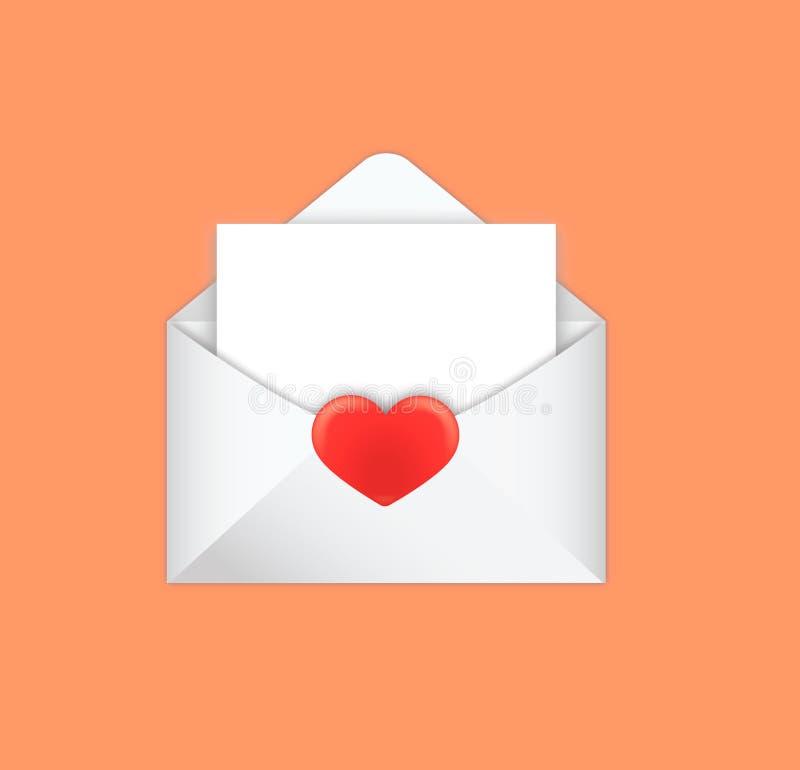 Пометьте буквами конверты раскрытые с бумагой для примечания - иллюстрации стоковые изображения