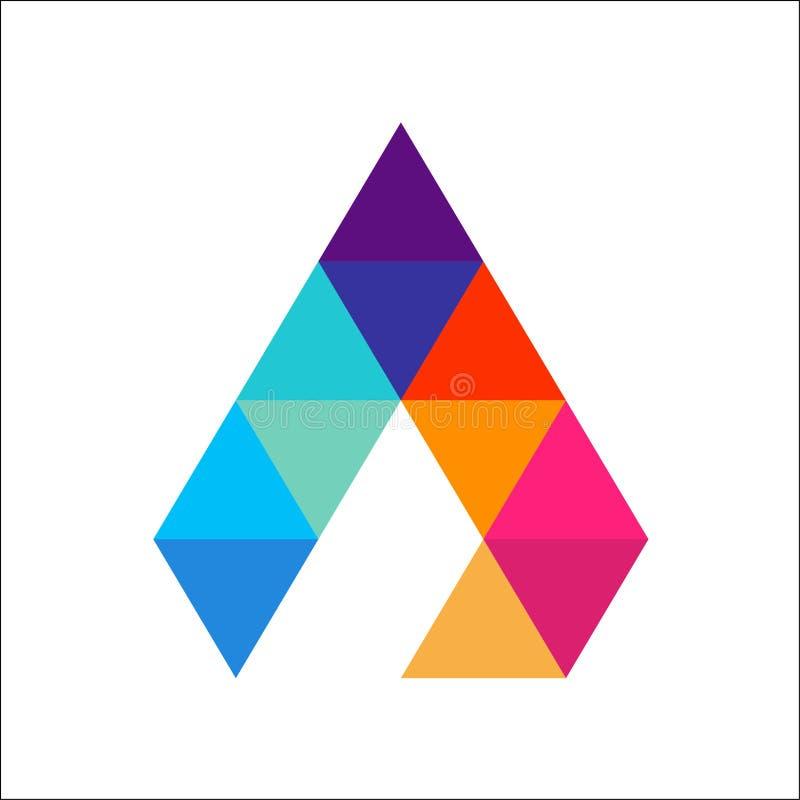 Пометьте буквами красочный шаблон логотипа треугольника иллюстрация вектора
