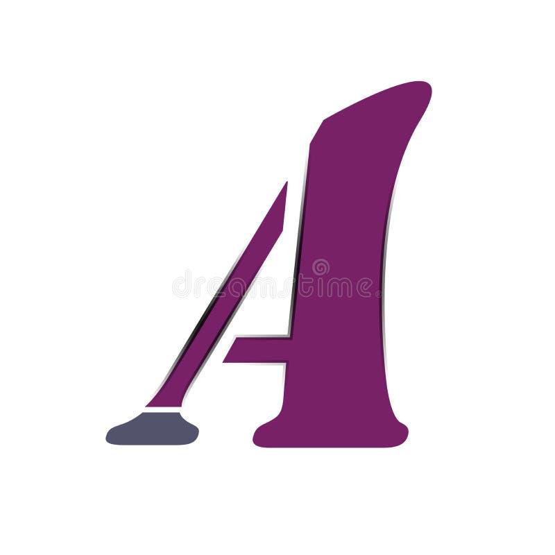 Пометьте буквами логотип a фиолетовый, иллюстрацию стоковая фотография rf