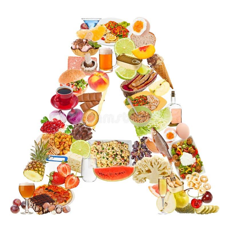 Пометьте буквами a сделал из еды стоковое фото rf