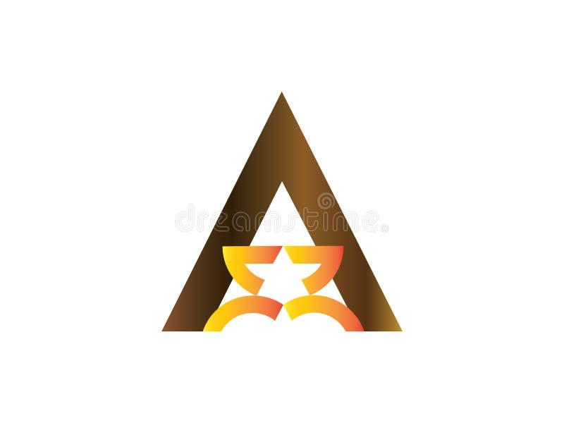 Пометьте буквами a с меньшим элементом письма векторной графики логотипа дизайна звезды клеймя иллюстрация вектора