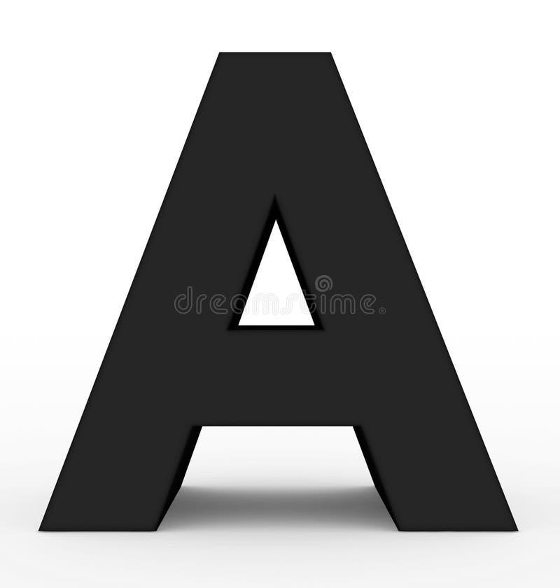Пометьте буквами черную a 3d изолированную на белизне иллюстрация вектора