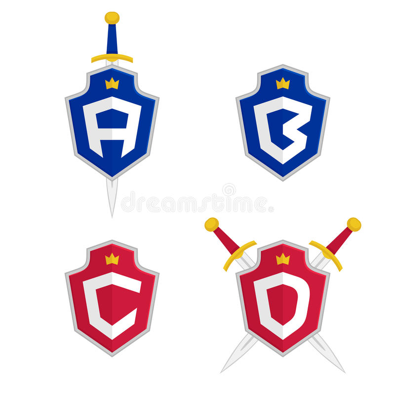 Пометьте буквами a, b, c, шаблоны логотипа вектора d Логотип письма с экраном и шпагой иллюстрация штока