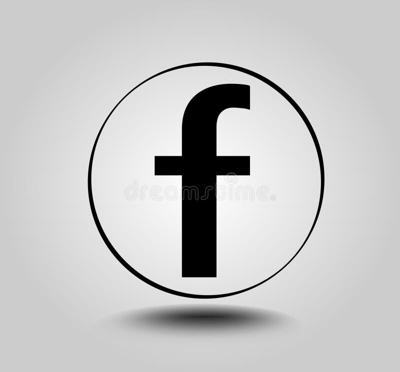 Пометьте буквами f, круглый значок на свете - серой предпосылке градиента Социальный значок средств массовой информации бесплатная иллюстрация