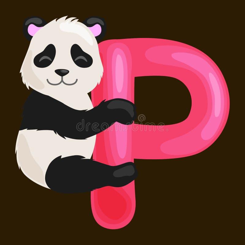Пометьте буквами p с животной пандой для образования abc детей в preschool иллюстрация вектора