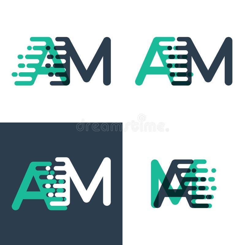 AM помечает буквами логотип с акцентом для того чтобы быстро пройти в зеленом цвете tosca и синий бесплатная иллюстрация