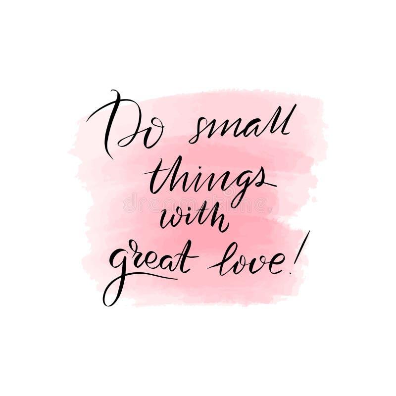 Помечать буквами для того чтобы сделать небольшие вещи с большей любовью бесплатная иллюстрация