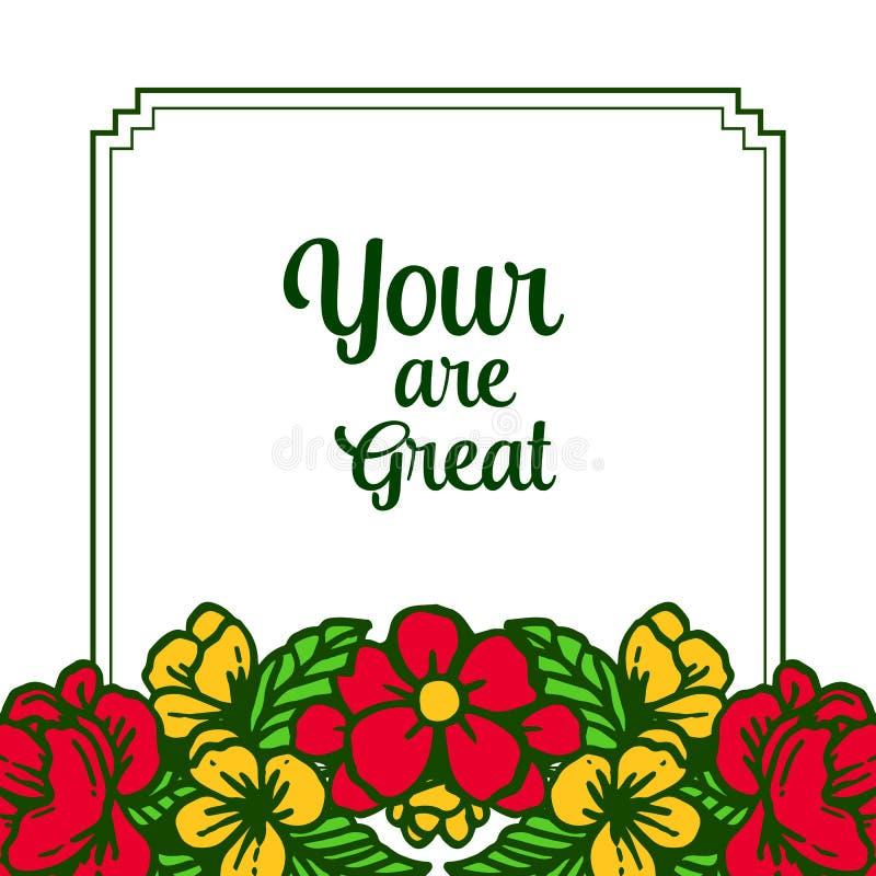 Помечать буквами иллюстрации вектора ваш большой с цветенями рамок цветка дизайна красочными иллюстрация вектора