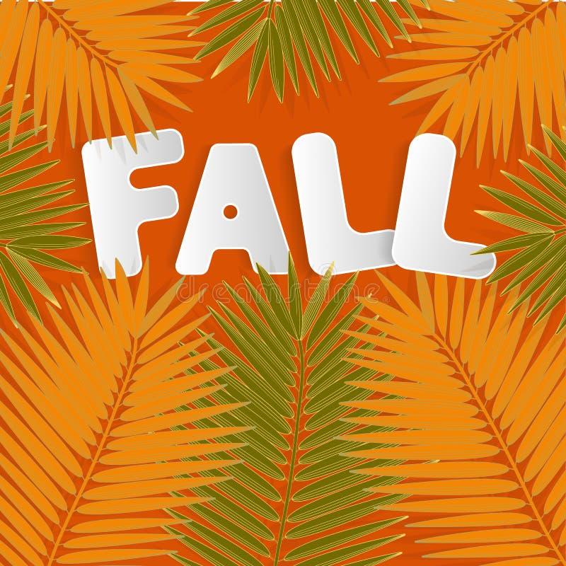 Помечать буквами ПАДЕНИЕ для дизайна фона сети Дизайн искусства Предпосылка падения листьев осени Естественный фон Концепция благ иллюстрация штока
