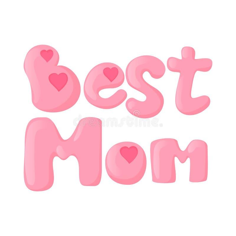 Помечать буквами самый лучший значок шаржа мамы иллюстрация вектора