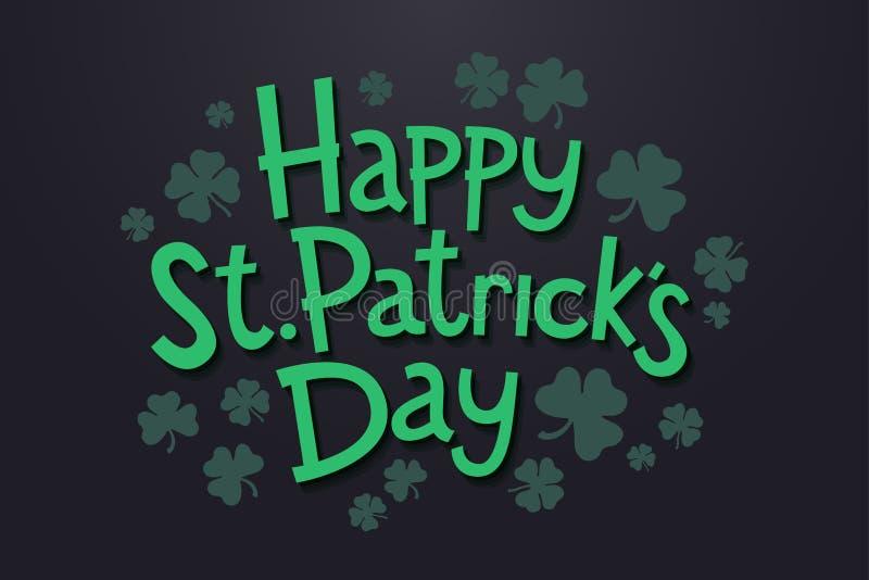 Помечать буквами счастливый день ` s St. Patrick с клевером выходит Изолированные объекты на темной предпосылке иллюстрация штока