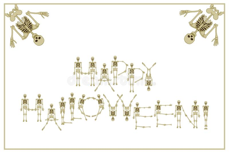 Помечать буквами счастливый хеллоуин с скелетами шрифтом танцев, комплект le иллюстрация вектора